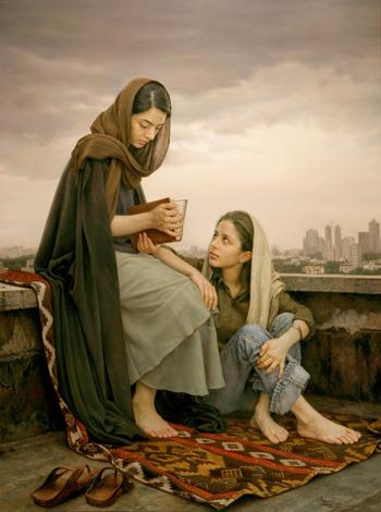 Uno de los cuadros del pintor realista Imán Maleki.