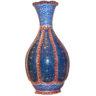 030. Florero artesañal iraní pintado a mano, cobre esmaltado